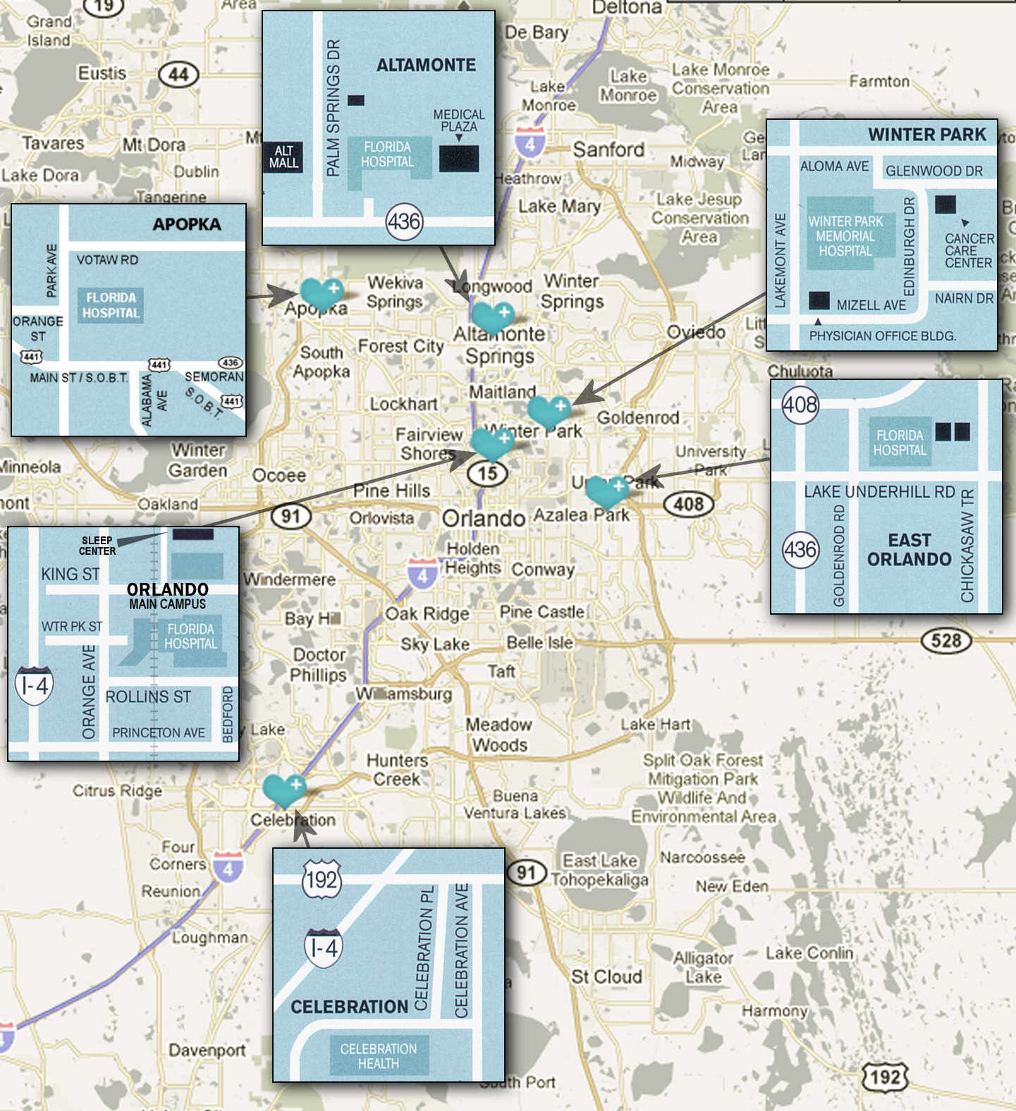 Locations Around Orlando For The Center For Sleep Disorders At - Florida map orlando area